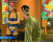 Alejandra Mora blue thong and stockings