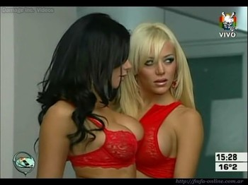 Evangelina Anderson and Mariana de Melo in red hot lingerie