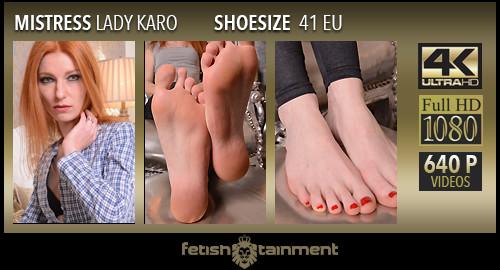 Karo tease him under her bare feet - FULL HD
