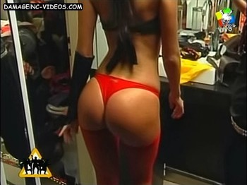 Natalie Weber perfect booty in red thong