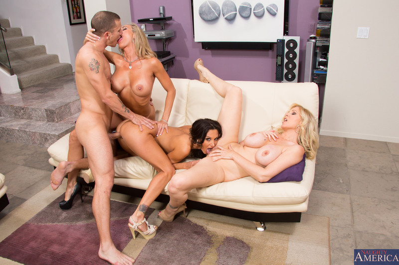 One lucky guy shares four stunning brunettes in an orgy